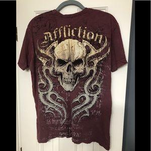 Affliction Shirts - Affliction designer maroon M pullover shirt